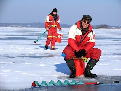 ice fishing in the day