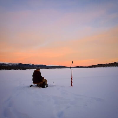 ice fishing in the morning