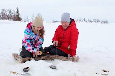 morning ice fishing